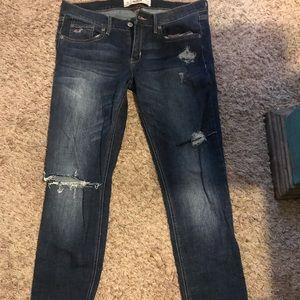 Dark denim distressed Hollister Jeans